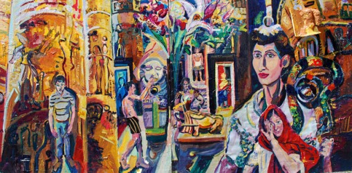 Villa_of_the_Mysteries_2012_AcrylicAndCollageOnWood_48inx96in