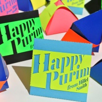 "Hillel Smith ""Papercut pyramid mishloach manot boxes"""