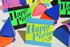 """Hillel Smith """"Papercut pyramid mishloach manot boxes"""""""