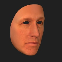 """Ken Goldman """"3-d printed mask of the artist""""; reversal -uncovering -masks as freedom to really express who we are"""