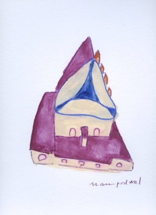 """Mark Podwal """"Purim at the Altneuschul"""", acrylic and colored pencil on paper"""